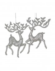 Silver Glitter Reindeer Decoration