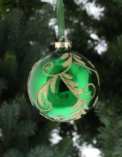Glass Green Decorated Bauble