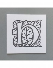 William Morris Letterpress - 'H' Greetings Card (grey)