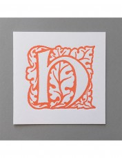 William Morris Letterpress - 'H' Greetings Card (orange)