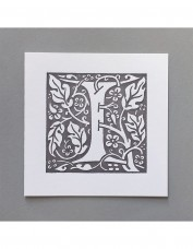 William Morris Letterpress - 'I' Greetings Card (grey)