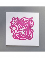 William Morris Letterpress - 'J' Greetings Card (pink)