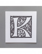 William Morris Letterpress - 'K' Greetings Card (grey)