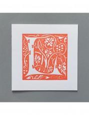 William Morris Letterpress - 'L' Greetings Card (orange)