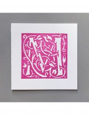 William Morris Letterpress - 'M' Greetings Card (pink)