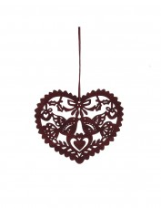 Laser Cut Mahogany Heart Decoration