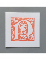 William Morris Letterpress - 'N' Greetings Card (orange)
