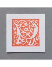 William Morris Letterpress - 'P' Greetings Card (orange)