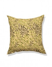 Cushion printed with green and cream design of Willow branches.
