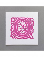 William Morris Letterpress - 'Q' Greetings Card (pink)