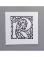 William Morris Letterpress - 'R' Greetings Card (grey)