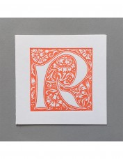 William Morris Letterpress - 'R' Greetings Card (orange)