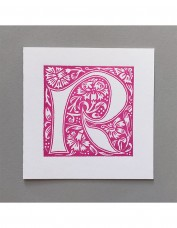 William Morris Letterpress - 'R' Greetings Card (pink)
