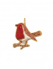 Red Sequin Robin Decoration