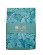 Photo of sketchbook decorated with blue pattern of Acanthus leaves