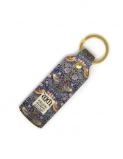 Strawberry Thief Leather Keyring (narrow)