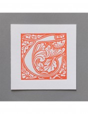 William Morris Letterpress - 'T' Greetings Card (orange)