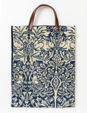 Handmade Leather Handle Tote Bag - Brother Rabbit (blue)