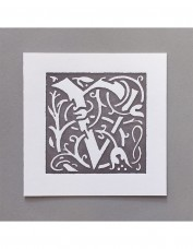 William Morris Letterpress - 'V' Greetings Card (grey)