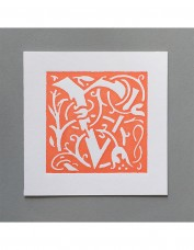 William Morris Letterpress - 'V' Greetings Card (orange)