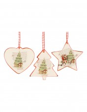 Vintage Ceramic Decoration with Gingham Ribbon - Tree