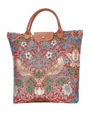 Strawberry Thief Tapestry Foldable Shopper Bag (red)