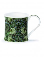 Bone china mug with green floral pattern