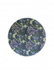 Dark blue tin plate decorated with William Morris pattern