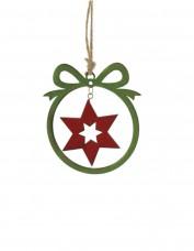 Laser Cut Green and Red Star Decoration