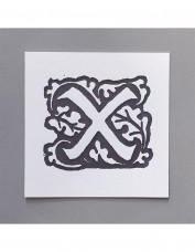 William Morris Letterpress - 'X' Greetings Card (grey)