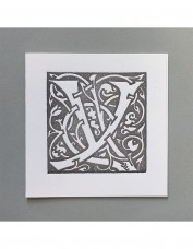 William Morris Letterpress - 'Y' Greetings Card (grey)