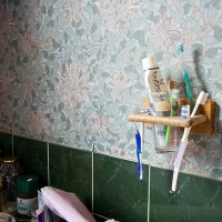 Toothbrushes in a holder in front of Morris wallpaper