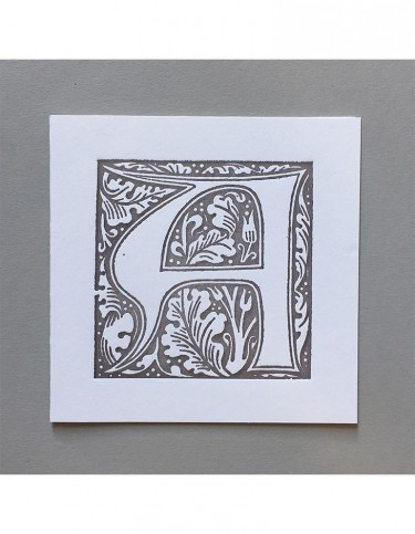 William Morris Letterpress - 'A' Greetings Card (grey)