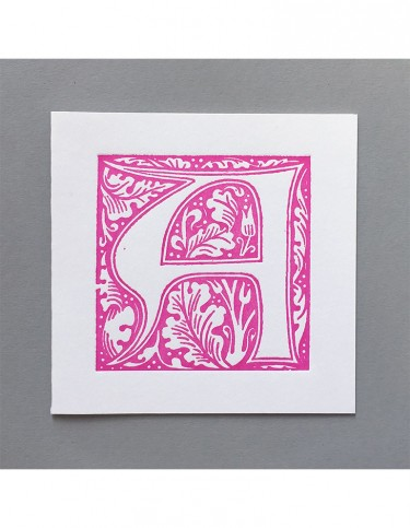 William Morris Letterpress - 'A' Greetings Card (pink)