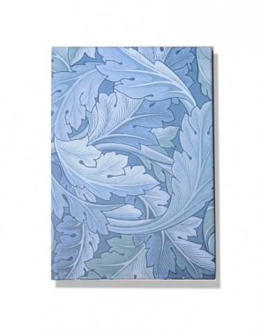 Blue notebook with acanthus leaf pattern
