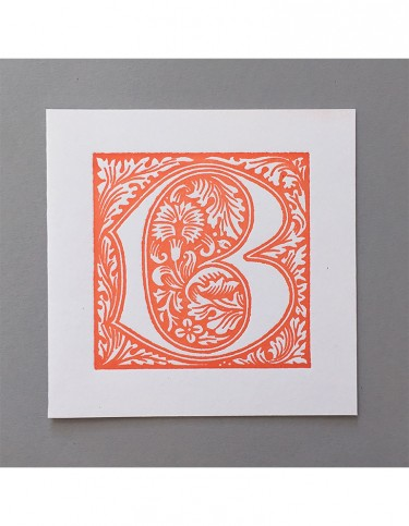 William Morris Letterpress - 'B' Greetings Card (orange)