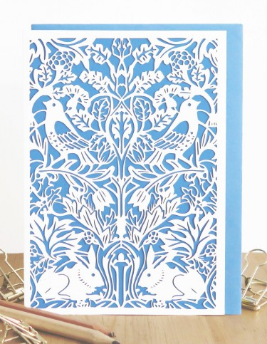 Bird and Hare Tapestry (blue) Laser Cut Card
