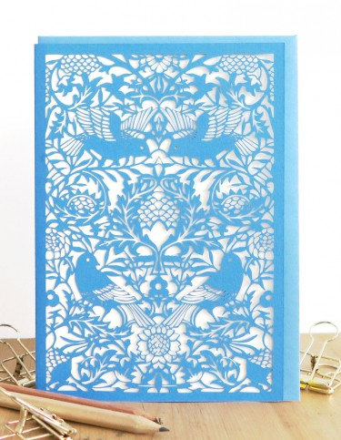 Bird Tapestry (blue) Laser Cut Card