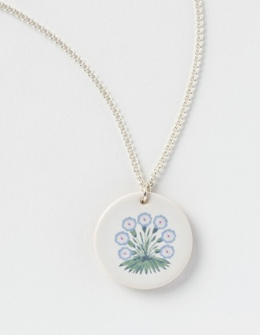 Celia Birtwell for William Morris Gallery Alice Primula blue pendant