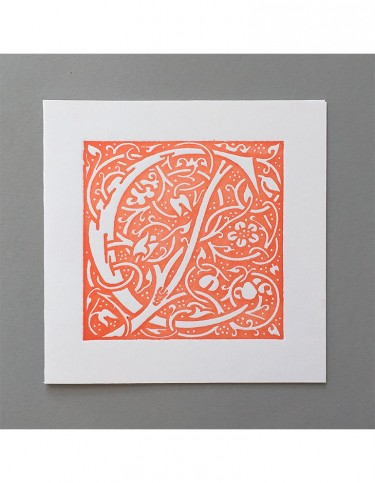William Morris Letterpress - 'C' Greetings Card (orange)