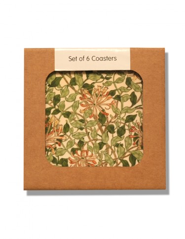 Box of coasters decorated in Honeysuckle pattern