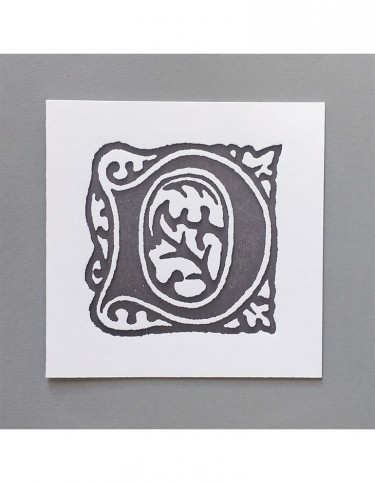 William Morris Letterpress - 'D' Greetings Card (grey)