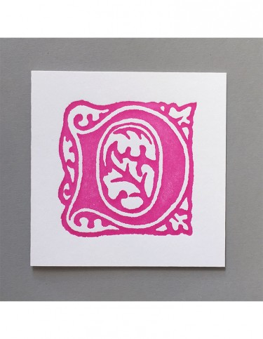 William Morris Letterpress - 'D' Greetings Card (pink)