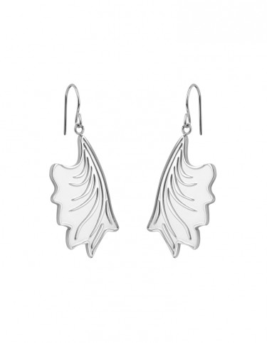 Esa Evans Drop Leaf Earrings - Silver Finish