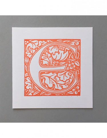 William Morris Letterpress - 'E' Greetings Card (orange)