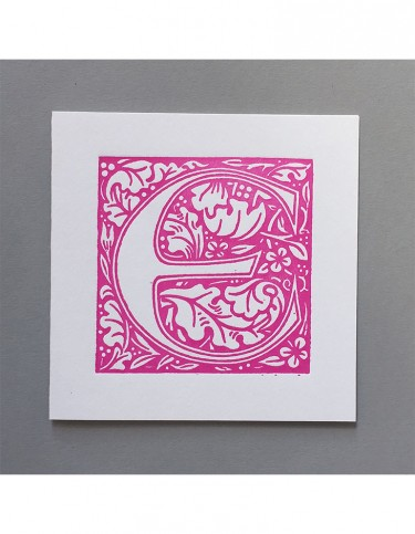 William Morris Letterpress - 'E' Greetings Card (pink)