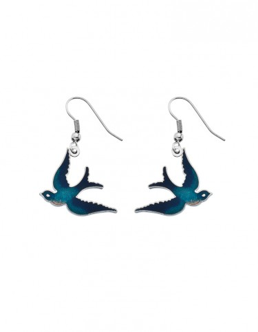 Celtic Lands - Enamel Swallow Earrings (turquoise)