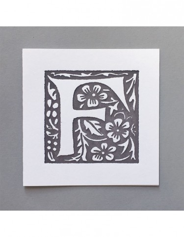 William Morris Letterpress - 'F' Greetings Card (grey)