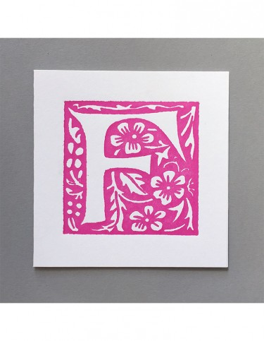 William Morris Letterpress - 'F' Greetings Card (pink)