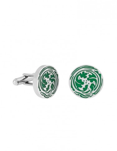 Foliage Cuff Links by Esa Evans - Silver and Green Enamel Finish